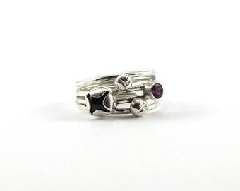 Garnet ring, nature jewelry, silver jewelry, artisan jewelry gemstone jewelry modern ring, January jewelry boho gift gift for her
