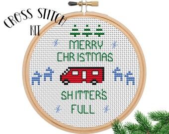 Merry Chistmas Shitter's Full Cross Stitch Kit. Cross Stitch Set. Funny Cross Stitch. Cute. Gift. Holiday Kit. Beginner Pattern.