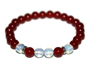 Red Ruby Bracelet Opalite Bracelet Ruby Jewelry Red Bead Bracelet Crystal Bracelet Women Mala Healing Mala Red Mala Bracelet Women Bracelet