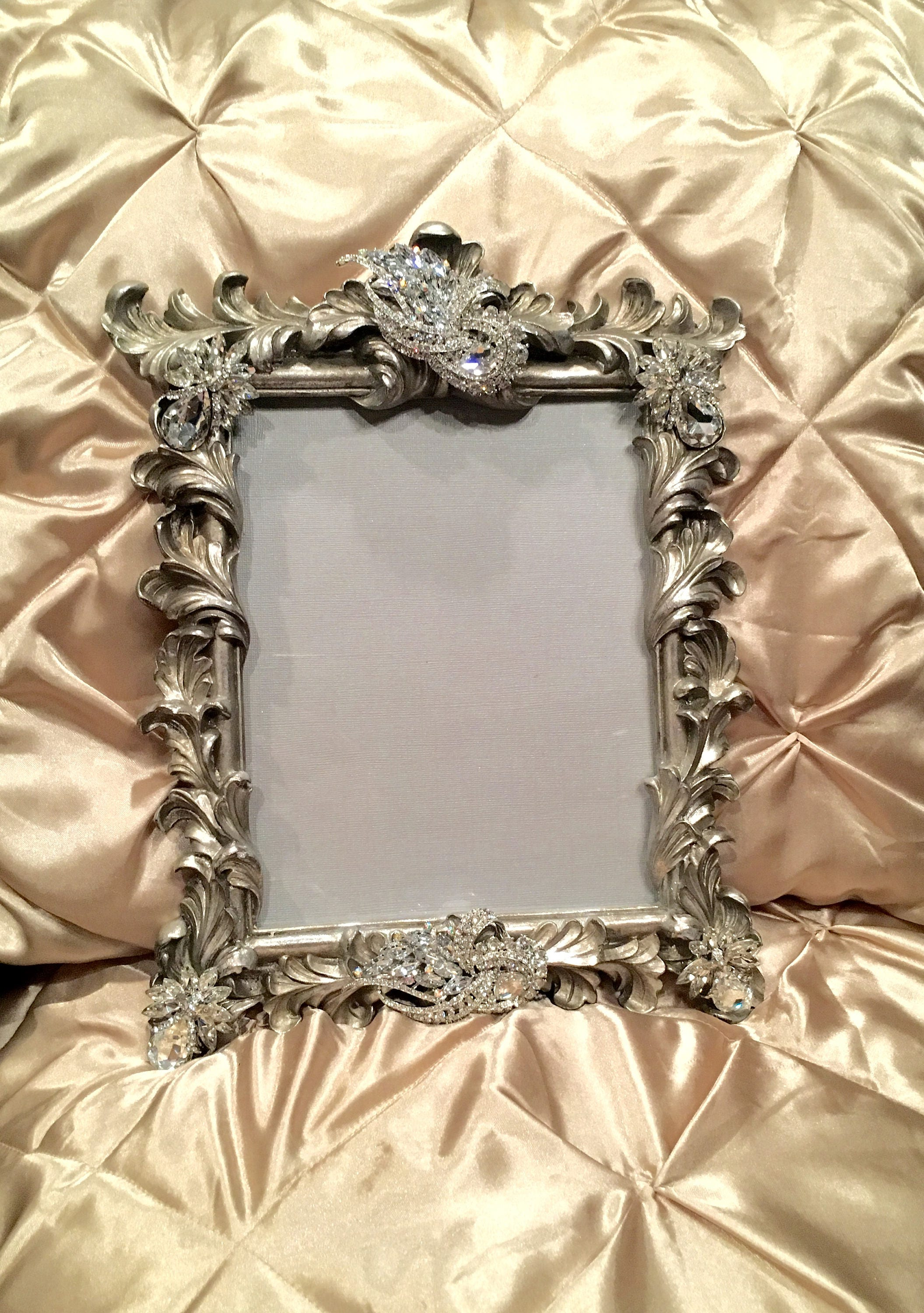 Ornate silver crystal encrusted 8x10 picture frame jeuxipadfo Image collections