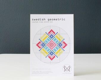 Swedish Geometric - Easy DIY Cross Stitch Kit - Beginners Cross Stitch