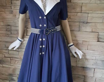 50s  navy blue nautical dress/pin up dress/retro dress/dance dress