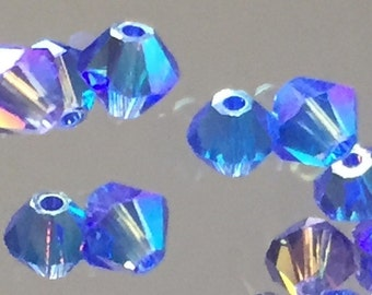 Swarovski Crystals Blue Beads - 4mm Faceted Bicone Beads - Volcano Blue - Package of 20