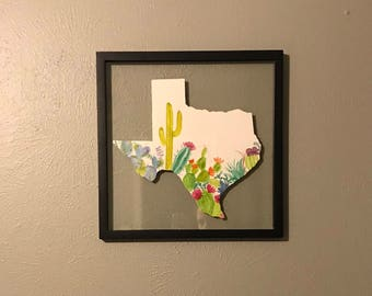 14x14 - Texas Cutout with Handpainted Watercolor Cacti on Watercolor Paper