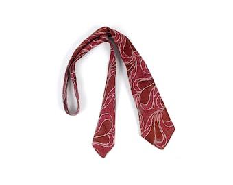 Vintage 30s Necktie - 30s Tie - 30s Cravat - 30s Brocade Necktie - 30s Art Deco Necktie - Art Nouveau Leaves - Red Silver Maroon - Silk