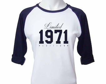 46th Birthday Gift for Women Limited Edition Birthday Celebration 46 Year Old Raglan Baseball Tee Shirt Birthday 1971