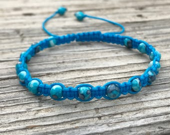 Blue Bead Bracelet, Blue Beaded Anklet, Macrame Friendship Bracelet, Beaded Bracelet, Boho Bracelet, Gift for Her, Small Gift, Surf Bracelet