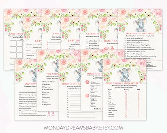 Elephant Printable Baby Shower Games Watercolor Floral, Elephant Floral, Baby Girl Theme BS005