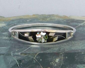 "Taxco Mexico 6-3/8"" Vintage Silvertone Hinge Bracelet Black Enamel & Abalone Shell Inlays A37"