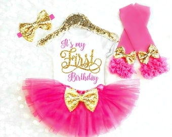 Girl Birthday Outfit Pink Birthday Outfit Girls First Birthday Outfit Girls 1st Birthday Outfit Its my first birthday shirt ANY AGE 15