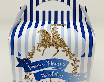 Prince Glitter Personalised Children's Party Box Gift Bag Favour