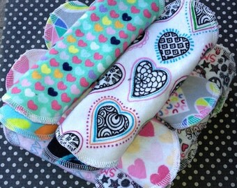 3-7-14 Reusable Cloth Pantyliners, Panty Liners, 100% Cotton Flannel, 3 sizes, Hearts, Winged