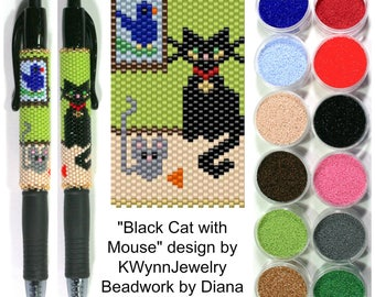 Black Cat with Mouse by KWynnJewelry beaded PEN kit (pattern sold separately)