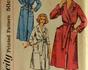 Uncut 1950s Simplicity Vintage Sewing Pattern 3240, Size 16; Misses' and Women's Robe