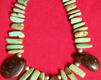 Extremely Rare Green Amber and Authentic Sonoran Turquoise Necklace