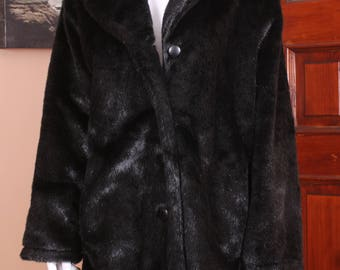 Tudor Court Black Sheared Beaver Reversible Faux Fur Coat