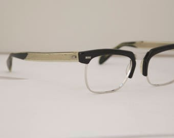 Vintage Mens Eyeglasses Metal Combo / Indo Brand Made in Spain / Model is Mercury / 1950s