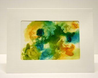 Alcohol Ink Hand painted card abstract art. blank greeting card with envelope, art collectable card hand made card green blue yellow unique