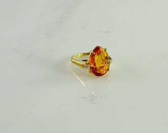 Citrine and Diamond Accent Ring Size 6 in 14K Gold