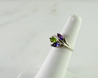 Green / Purple/ Blue Stone Ring Size 6 Sterling Silver