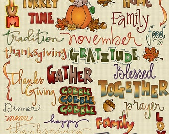 Thanksgiving Words Clip Art Download