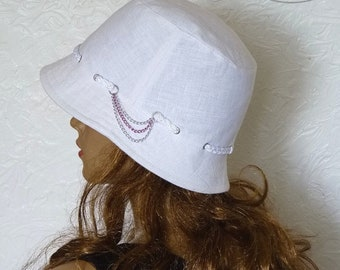 Women's Hat, Summer hat, White Hat, Hat made of linen, Hat from flax, Sun hat, Women's white hat, With small brims