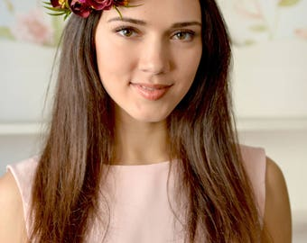Boho Wedding floral crown Purple Ranunculus hair wreath Bridal burgundy head piece flower bridal headband wedding burgundy hair accessory