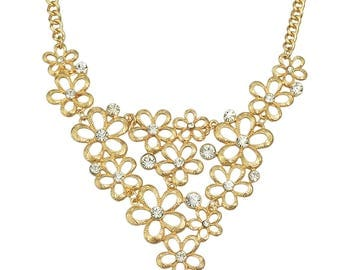 Gold and Crystal Flower Bib Statement Necklace