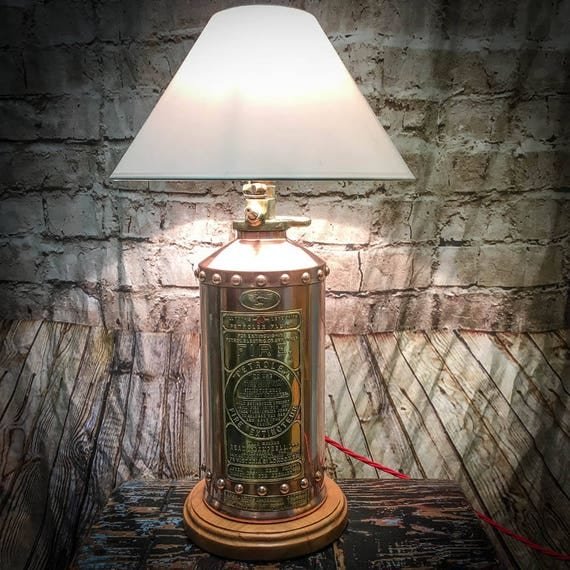 Stunning Vintage Copper and Brass Fire Extinguisher Lamp