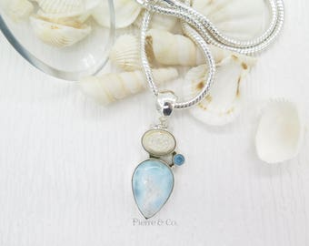 Snow White Drusy Larimar and Blue Topaz Sterling Silver Pendant and Chain