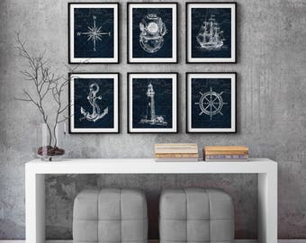 Nautical print set, boat decor, Nautical Decor, Blue boat art, Seamen gift, Beach house wall art, Nautical map print, Old illustration print