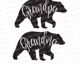 Grandma SVG - Grandpa Svg - Mama Bear SVG - Papa Bear Svg - Grandmother Svg - Family Bear SVG - Bear Clipart - Grandma Bear - Grandpa Bear