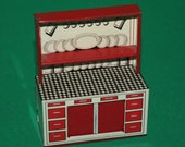 Vintage Dolls House Brimtoy Tin Litho Kitchen Dresser