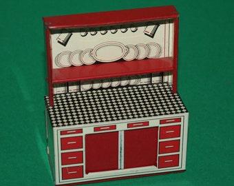Vintage Dolls House Brimtoy Tin Litho Kitchen Dresser