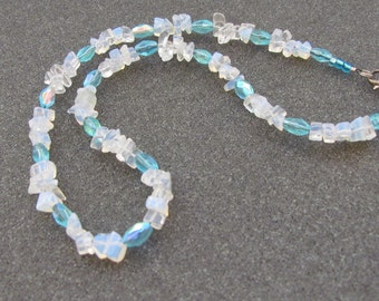 Aqua, Beaded Necklace, Aqua Czech Crystals, Moonstone Chips, Steel Cording, Lobster Clasp, Charming, Summer, Beauty