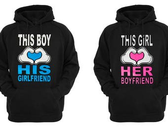 Valentines Day Matching Cute Couple Love His and Hers Hoodie This Boy / Girl Loves  His Girlfriend / Her Boyfriend Hoodies Lovely Gift