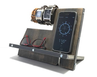 Gray Vintage Industrial Rustic Wood Phone Stand / Docking Station / Charging Station / Cell Phone Holder / Phone Stand Wood