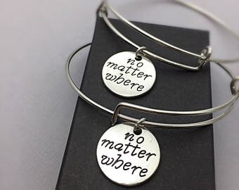 No matter where, distance charm bracelet, no matter where pendant, friendship bangle bracelet,long distance jewelry, anchor, bff gift