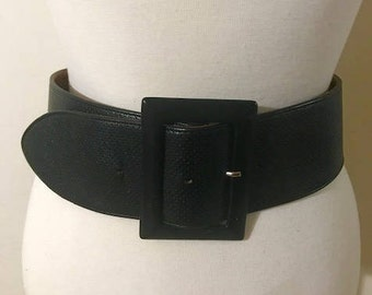 ORCIANI Black Belt Leather Woman Belt Genuine Leather Wide and Big Buckle Belt Made in Italy Fit Small-Medium