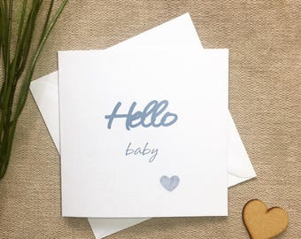 New Baby Boy Card, Hello Baby Card, Card for New Baby Blue
