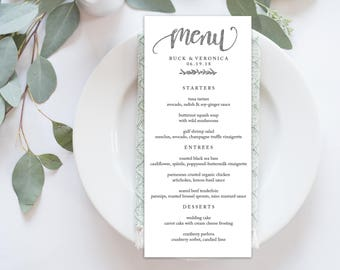 Wedding Menu Printable, Menu Editale Template | Menu Printable, Reception Printable, SILVER Hand lettered, Dinner Menu 4x9"