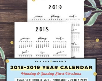 2018-2019 Calendar Printable, Year at a Glance, Yearly Agenda, Half Letter Size, Filofax A5, A4, Monday Start, Black White, Sunday Start