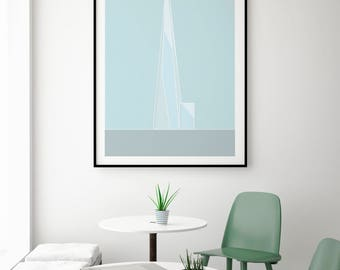 The Shard, Colour, London Print | London Artwork | London Illustration | Architecture Print | City Print