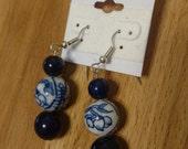 Reclaimed blue and white ceramic beaded earrings