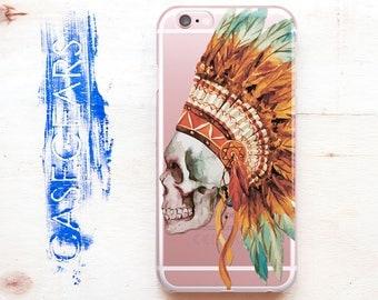 Skull Flowers iPhone 7 Case Transparent Case iPhone 6 Case 6s Plus iPhone Case Phone Case 7 Phone Galaxy S7 S6 Case iPhone 5C SE 0134