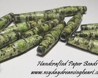 15 Handmade Paper Beads Lot Loose Marquise Snakeskin Camouflage Camo Green Matte Finish Jewelry Bracelet Necklace Earrings Craft Supplies