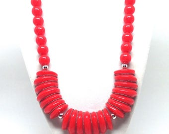 Gorgeous Classic Vintage Estate Red Beaded Dangle Necklace