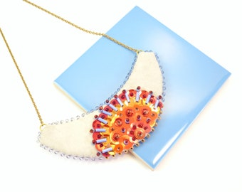Necklace Plastron Nicte / Flor red & blue