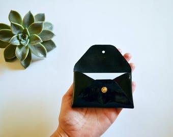 Patent black leather card case / Patent black envelope card holder / Black leather business card case / Genuine leather