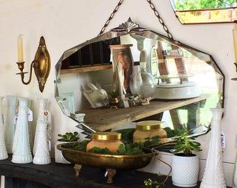 Art Deco mirror wall mirror frameless mirror beveled edge mirror hanging wall mirror modern mirror large mirror round mirror decorative